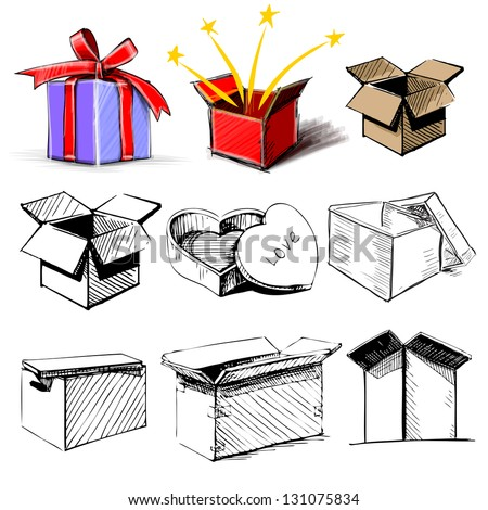 Present boxes collection. Hand drawing sketch vector illustration - stock vector