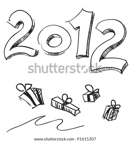 Present boxes 2012 new year sketch vector illustration