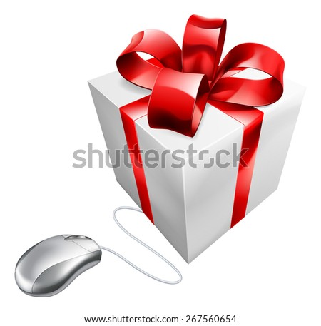 Present computer mouse online internet gift shopping concept of a computer mouse connected to a present. Could be concept for vouchers - stock vector