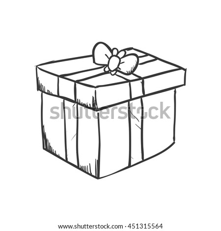 Present concept represented by Gift icon. Isolated and sketch illustration