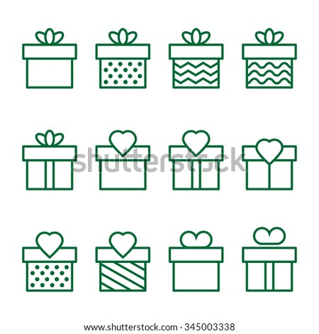 Present green  icons on background - stock vector