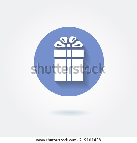 Present icon gift box on flat style - stock vector