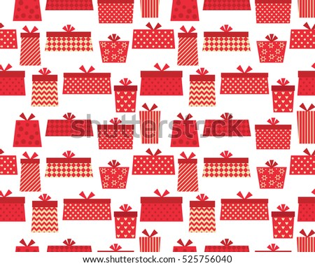Present seamless pattern in red