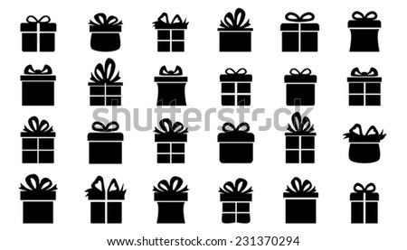 present silhouettes on the white background - stock vector