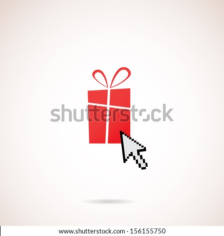 Present with computer arrow; christmas and holiday shopping - stock vector