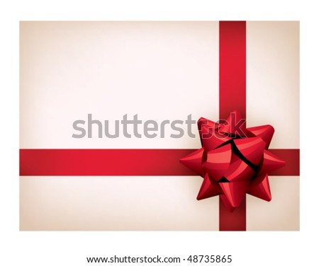 Present with red ribbon on a white background