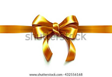 Present wrapped with golden ribbon with beautiful bow on it. Vector illustration - stock vector