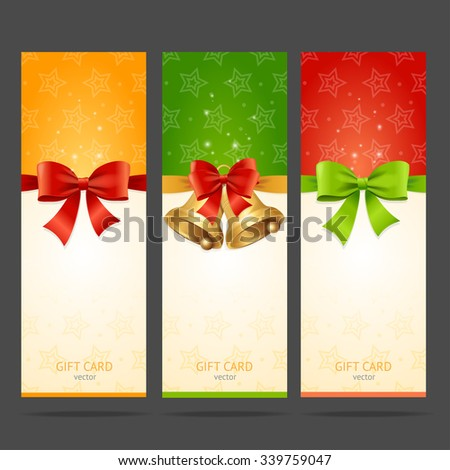 Present Xmas Card with Bow and Bell Set. Vector illustration