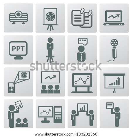 Presentation and business man icons,vector - stock vector