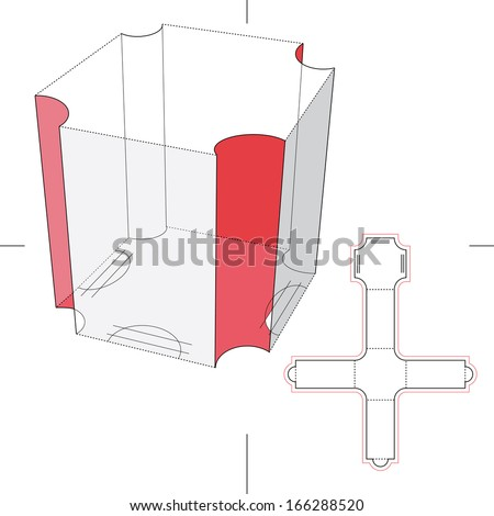 Presentation Box with Cut Corners and Blueprint Layout - stock vector