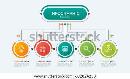 Presentation business infographic template with 5 options. Vector illustration.
