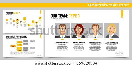 Presentation dashboard template. Our team, process chart, tree diagram charts. Presentation dashboard infographic. Presentation dashboard infographic art. Presentation dashboard infographic web. - stock vector