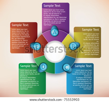 presentation diagram with place for description for each item - stock vector
