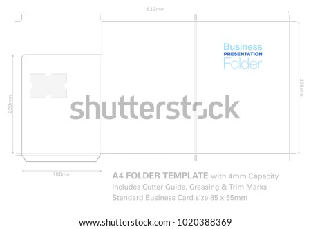 Presentation folder a 4 template cutter guide stock photo photo presentation folder a4 template with cutter guide with standard business card slot ready for fbccfo Image collections