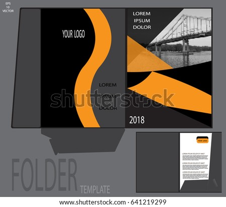 Presentation Folder Template Corporate Printed Products Stock Vector
