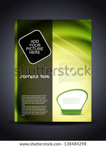 Presentation of creative corporate flyer or cover design in green color. - stock vector