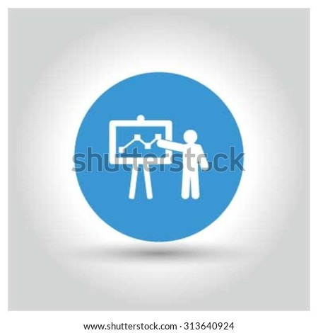 Presentation on business growth Icon. Black Business Pictogram. vector illustration - stock vector