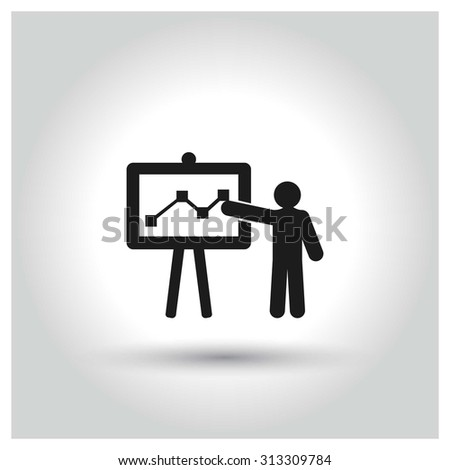 Presentation on business growth icon. Black Pictogram. vector illustration - stock vector