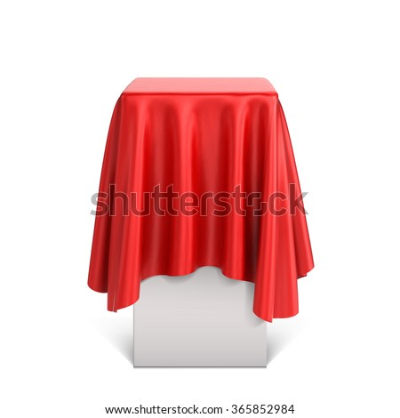 Presentation pedestal covered with a red silk cloth - stock vector