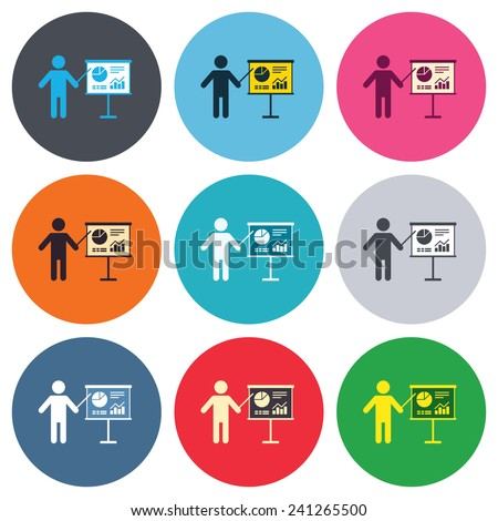 Presentation sign icon. Man standing with pointer. Scheme and Diagram symbol. Colored round buttons. Flat design circle icons set. Vector - stock vector