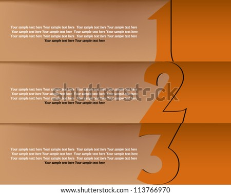 Presentation slide template editable at your choosing with your words. Numbered background 1,  2, 3, one two three. Business background. Slide concept. Vector illustration. - stock vector