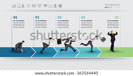 Presentation Template of a progress illustrated with businessman in hurry in each step - stock vector