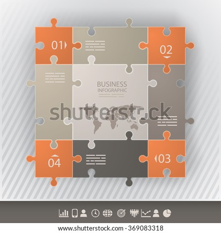 Presentation template with connected puzzle pieces and four options - stock vector