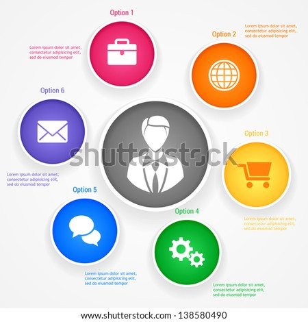 Presentation template with five options. Vector illustration. Eps 10 - stock vector