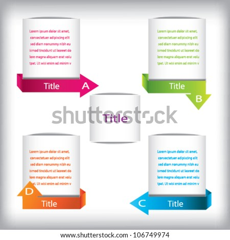 Presentation Template With four Text Box, Vector - stock vector