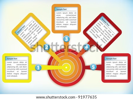 Presentation Template with four text boxes in a circle - stock vector