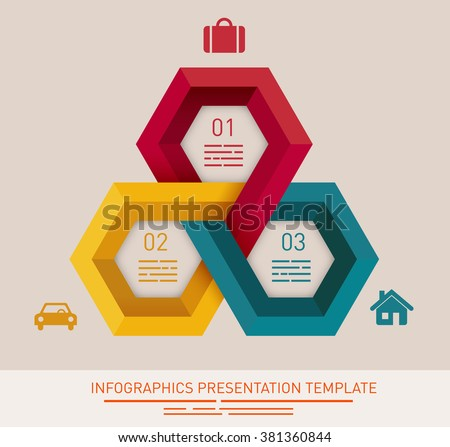 Presentation template with three different colored hexagonal fields - stock vector