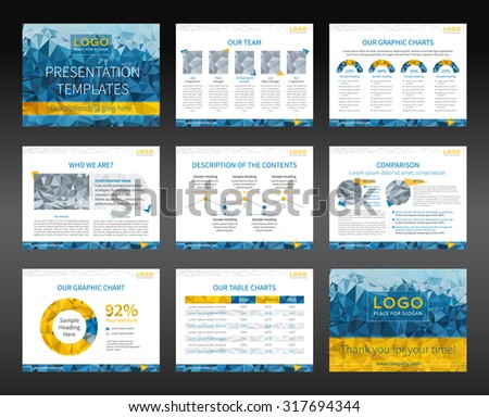 Presentation templates and business brochures. Layout design. Low-poly style illustration - cyan and yellow version. Vector - stock vector