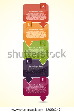 Presentation with five text box - stock vector