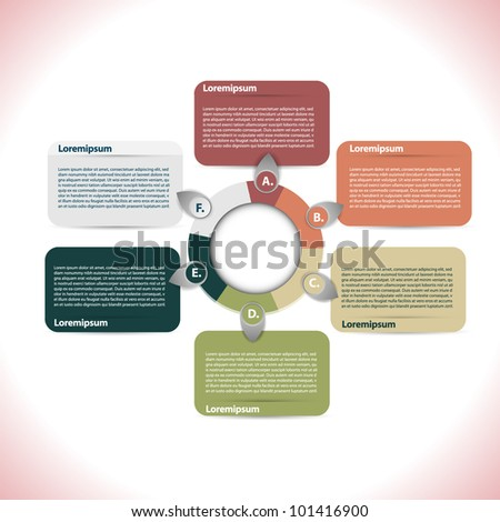 Presentation with six text box - stock vector