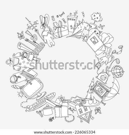 Presents and toys doodle, Kid's dreams - stock vector