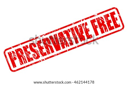 PRESERVATIVE FREE red stamp text on white