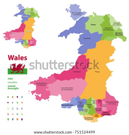 Preserved Counties Wales Vector Administrative Map Stock Vector