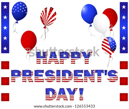 President's Day. Beautiful text and balloons with the pattern of the American flag on white. Vector illustration.