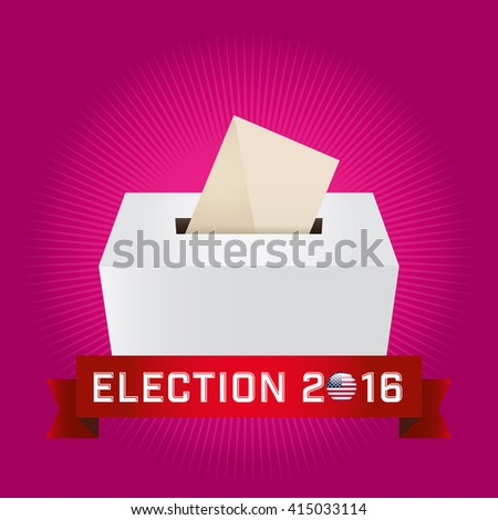 Presidential Election Day 2016. Text: Election 2016. American Flag's Symbolic Elements - Red Stripes and White Stars. Magenta background.