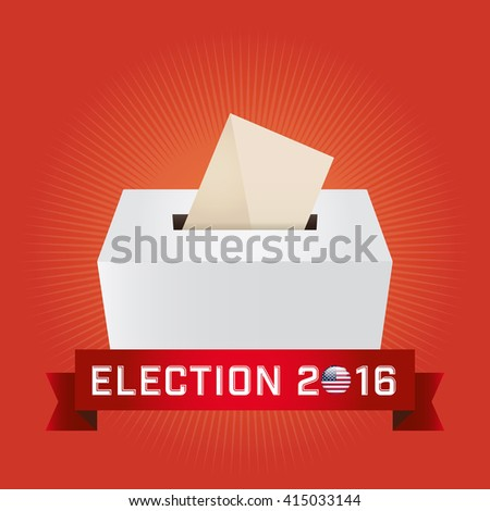 Presidential Election Day 2016. Text: Election 2016. American Flag's Symbolic Elements - Red Stripes and White Stars. Orange background.