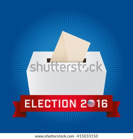 Presidential Election Day 2016. Text: Election 2016. American Flag's Symbolic Elements - Red Stripes and White Stars. Cyan background. - stock vector