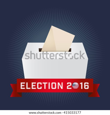 Presidential Election Day 2016. Text: Election 2016. American Flag's Symbolic Elements - Red Stripes and White Stars. Navy background.