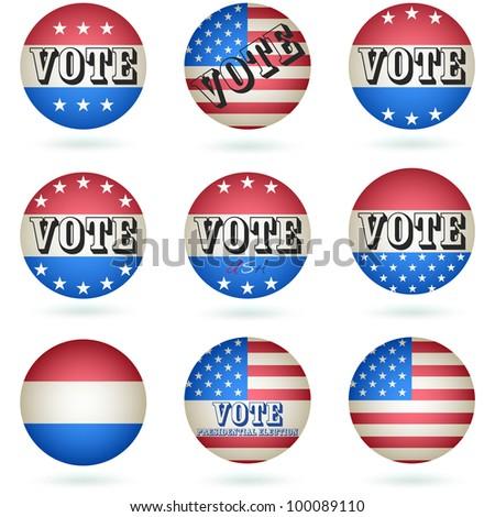 Presidential Election Vote Button SET. Vector - stock vector
