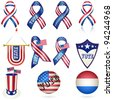 Presidential Election Vote Ribbon and other Element SET. Vector - stock photo