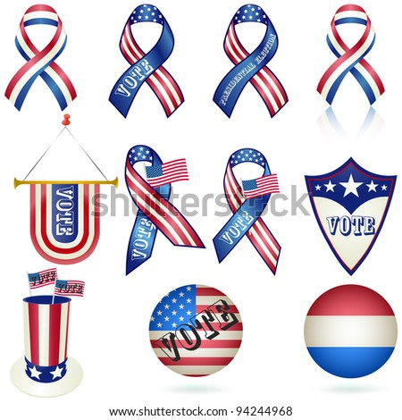 Presidential Election Vote Ribbon and other Element SET. Vector - stock vector