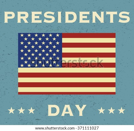 Presidents Day banner with American Flag. Blue background