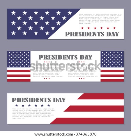 Presidents Day banners on a dark background, vector illustration - stock vector