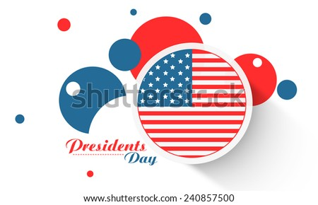 Presidents Day celebration sticker, label or circles in United State American flag color on white background. - stock vector