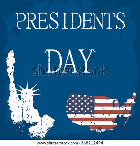 presidents day. map of America. The Statue of Liberty