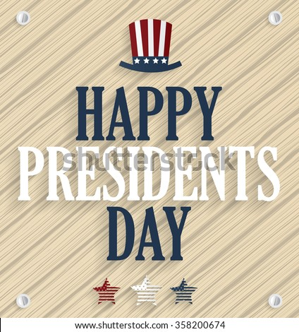 Presidents day poster. Wooden background. Vector illustration. - stock vector